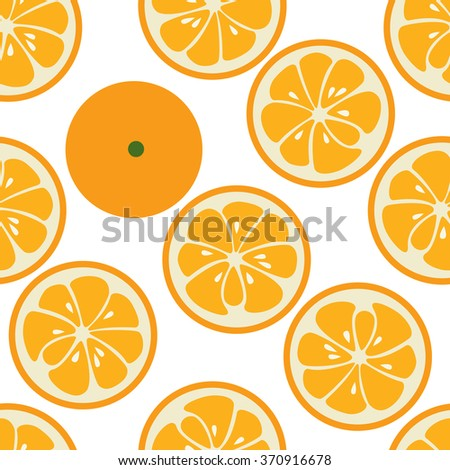 Cute seamless pattern with orange slices. Tasty summer background. Yummy tropical fruits endless texture. Can be used for wallpapers, banners, posters. Delicious healthy fruits. Vector illustration - stock vector