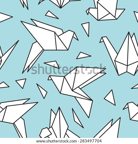 Cute seamless pattern with origami birds. Can be used for desktop wallpaper or frame for a wall hanging or poster,for pattern fills, surface textures, web page backgrounds, textile and more. - stock vector