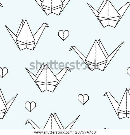 Cute seamless pattern with origami Crane. Can be used for desktop wallpaper or frame for a wall hanging or poster,for pattern fills, surface textures, web page backgrounds, textile and more. - stock vector