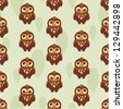 cute seamless pattern with owl - stock vector