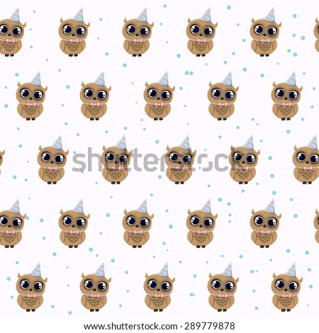 Cute Seamless pattern with owls in striped party hat - stock vector