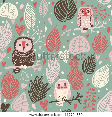 Cute seamless pattern with owls. Vector forest texture - stock vector