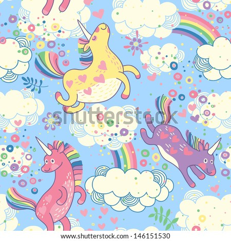 Cute seamless pattern with rainbow unicorns in the clouds. Vector illustration. - stock vector