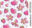 cute seamless pattern with romantic elements, vector - stock vector