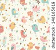 Cute seamless pattern with small birds and flowers. Spring vector background in pastel colors. Seamless pattern can be used for wallpapers, pattern fills, web page backgrounds, surface textures.  - stock