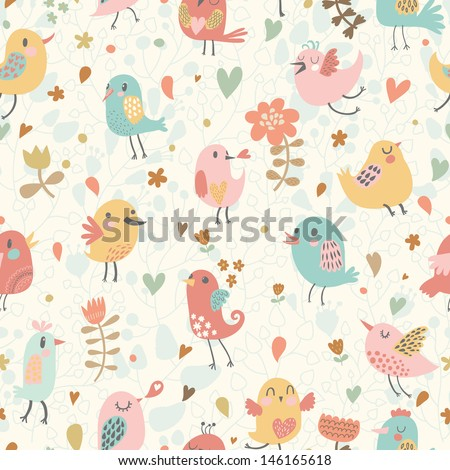 Cute seamless pattern with small birds and flowers. Spring vector background in pastel colors. Seamless pattern can be used for wallpapers, pattern fills, web page backgrounds, surface textures.  - stock vector