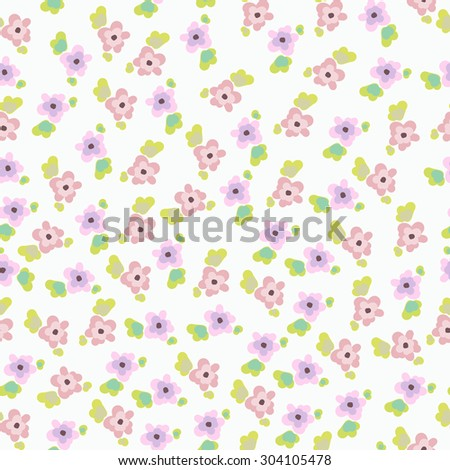 Cute seamless pattern with small flowers. pink and purple flowers. The pattern for the fabric - stock vector