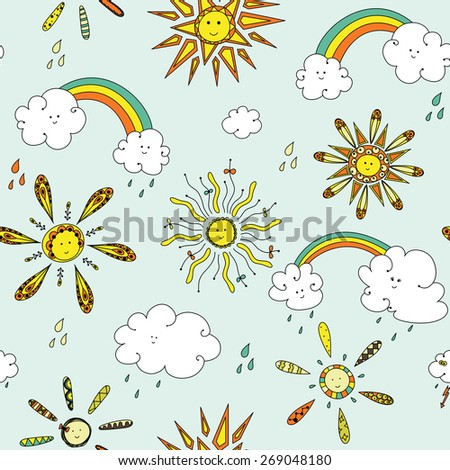 Cute seamless pattern with suns and clouds.