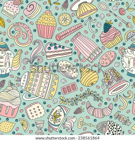 Cute seamless pattern with sweets and desserts: cupcake, ice cream, teapot. Doodle style vector. Baked goods, restaurant menu and tea party background.  - stock vector