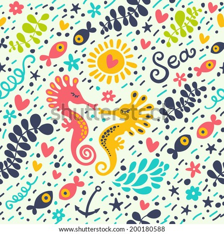 Cute seamless pattern with underwater live: starfish, fish, sea horse, algae. Vector sea background. - stock vector