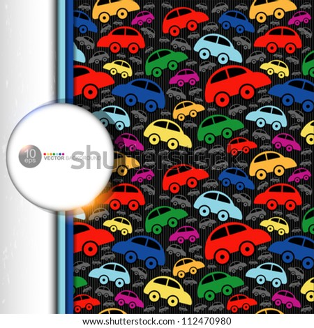 Cute seamless pattern with vintage cars. - stock vector