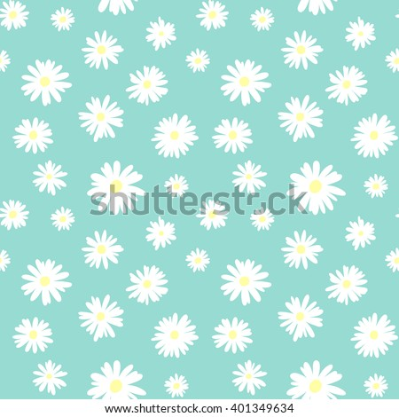 Cute seamless pattern with white chamomiles on a pastel blue background