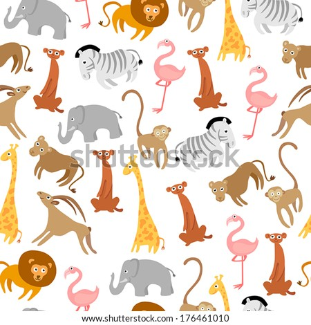 Cute Seamless Pattern With Wild Animals - stock vector