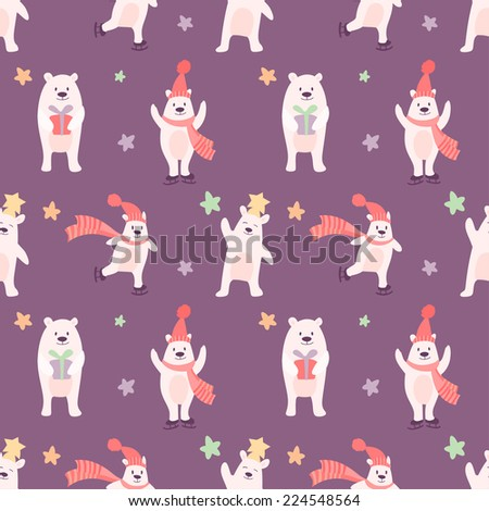 Cute seamless pattern with winter bears - stock vector