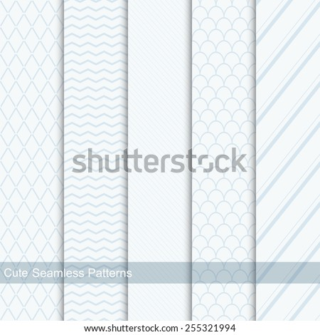 Cute seamless patterns, vector backgrounds - stock vector
