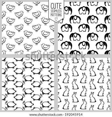 cute seamless patterns with funny animals. vector illustration.  - stock vector