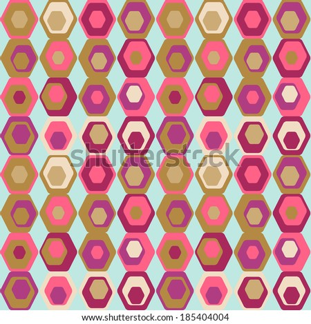 Cute seamless retro pattern of hexagons. Seamless background can be used for wallpaper, pattern fills, web page background, surface textures. - stock vector