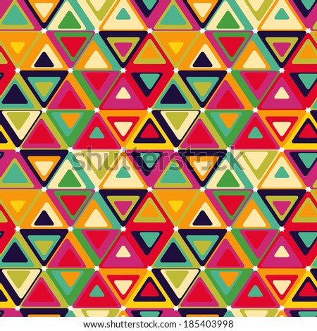 Cute seamless retro pattern of triangles.  - stock vector