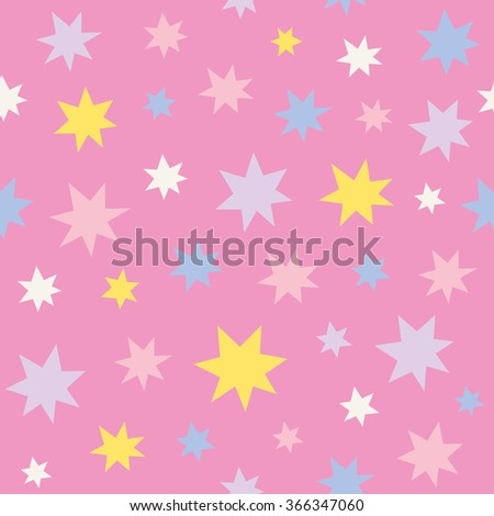 cute seamless stars pattern. vector illustration - stock vector