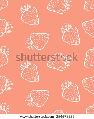cute seamless strawberry pattern in vector - stock vector