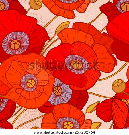 Cute seamless summer pattern with bright red poppies on beige background. Can be used as background, textile, wrapping paper, wallpaper and other designs - stock vector