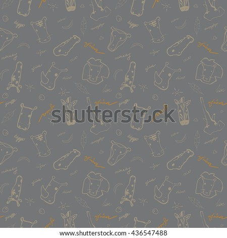Cute seamless vector pattern with hand drawn africa animals. Perfect  for textile or background for site. - stock vector