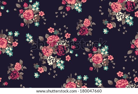 cute seamless vintage flower pattern vector - stock vector