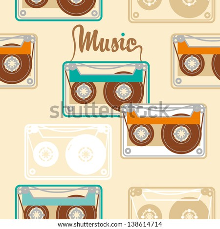 cute seamless vintage pattern with tape cassettes - stock vector