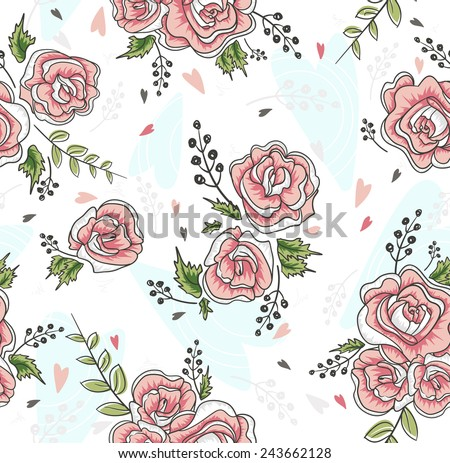 Cute seamless vintage rose pattern. Background with flowers and hearts. - stock vector