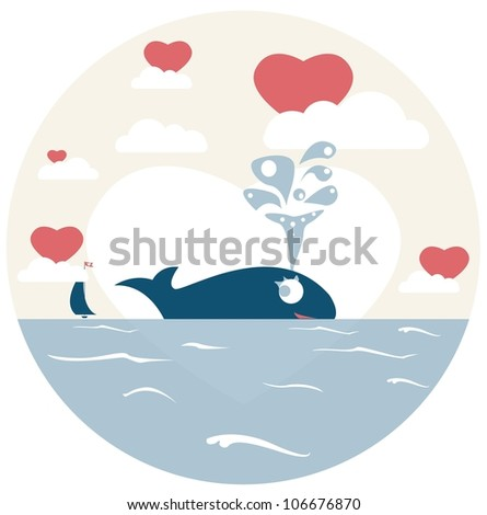 Cute seascape with whale