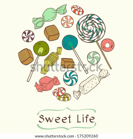 Cute set of colorful hand drawn doodle sweets on polka dot background. Cartoon candy collection. - stock vector