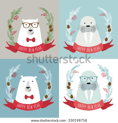 Cute set of hand drawn Christmas symbols as festive wreathes with polar bear and seal with hand written text for your decoration - stock vector