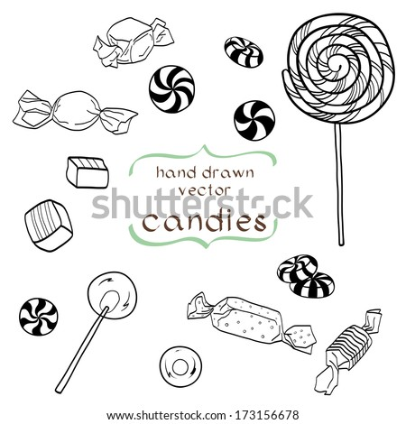 Cute set of hand drawn doodle sweets isolated on white background. Cartoon candy collection. - stock vector