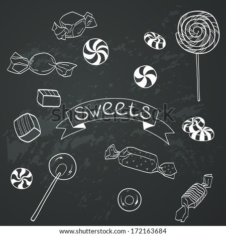 Cute set of hand drawn doodle sweets on chalkboard background. Cartoon candy collection. - stock vector