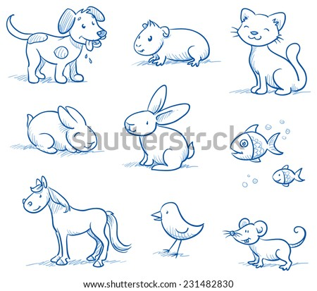 Cute set of pets, dog, cat, horse, bunny, guinea pig,fish, bird mouse, hand drawn doodle sketch - stock vector