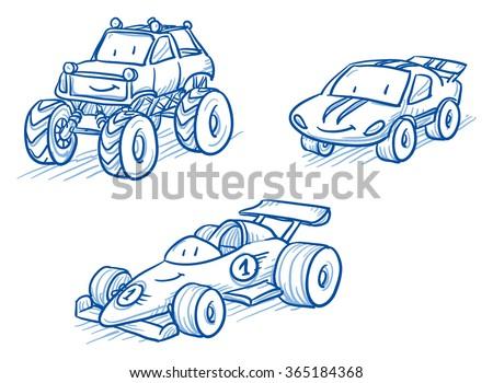 Cute set of vehicles, racing cars, monster truck. Hand drawn vector cartoon doodle illustration - stock vector