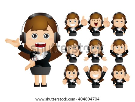 Cute Set - Set of client services and communication - stock vector