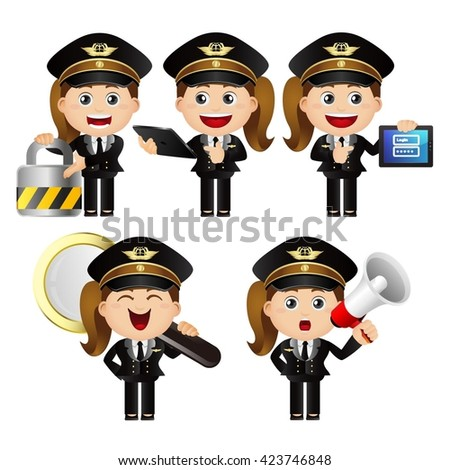 Cute Set - Set of policeman - stock vector