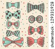 Cute set with bows. Vector illustration - stock photo