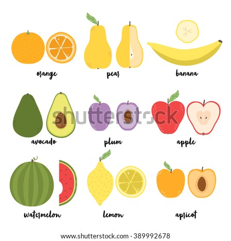 cute set with cartoon lemon, pear, orange, apple, watermelon, avocado, plum, banana and apricot on white background. can be used for greeting cards, party invitations or like stickers - stock vector
