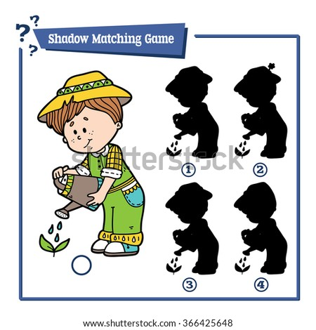 cute shadow gardener game. Vector illustration of shadow matching game with happy cartoon gardener for children - stock vector
