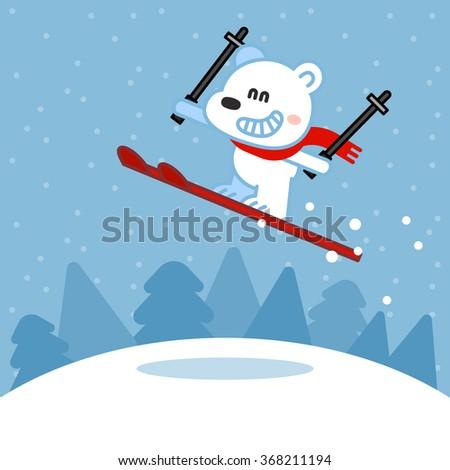 Cute shaggy polar bear skiing - stock vector
