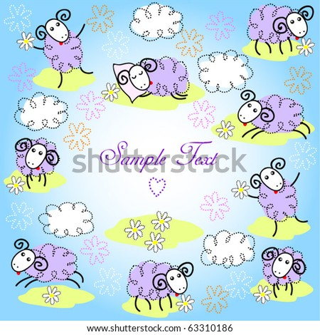 Cute sheep - stock vector