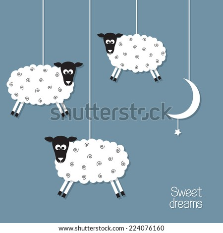Cute sheep and moon in paper cut out style. Sheep counting concept - stock vector