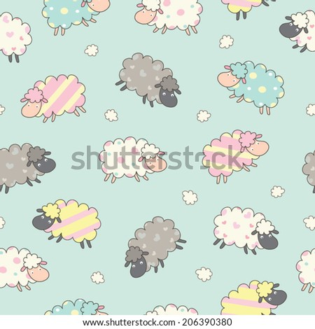 Cute Sheep background seamless pattern. Seamless pattern can be used for wallpapers, pattern fills ,backgrounds and textures.  - stock vector