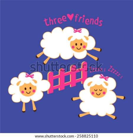 cute sheep jumping over the fence  - stock vector