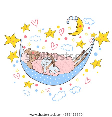 Cute sheep sleeping in a hammock with toy bunny. Vector illustration. - stock vector