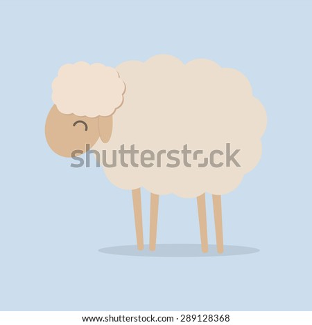 Cute sheep vector illustration, EPS10 - stock vector