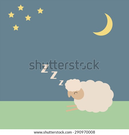 Cute sheep vector illustration for sleep concept, EPS10  - stock vector