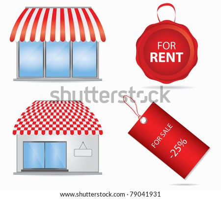Cute shop icon with red awnings. Vector illustration. - stock vector